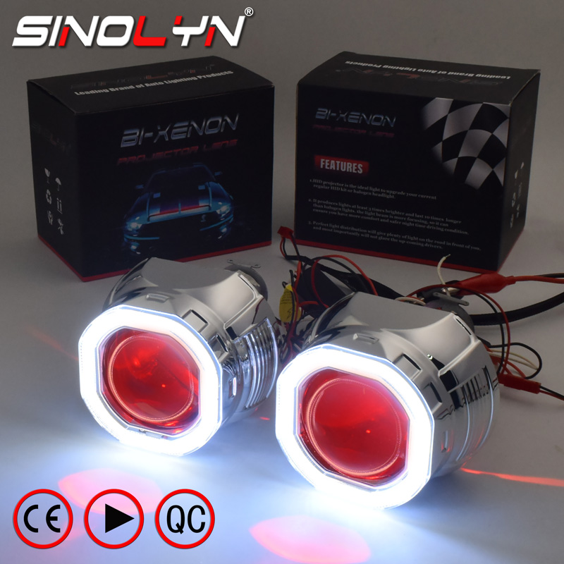 "2.0/"" Car Motorcycle Headlights HID BI-XENON Projector Angel Eye Devil Eye"