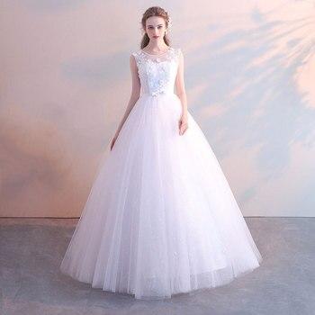 Robe De Mariee Cheap Classic Wedding Dress Bride Wedding Princess Simple High Waist Slimming Wedding Dress Vestidos De Novia