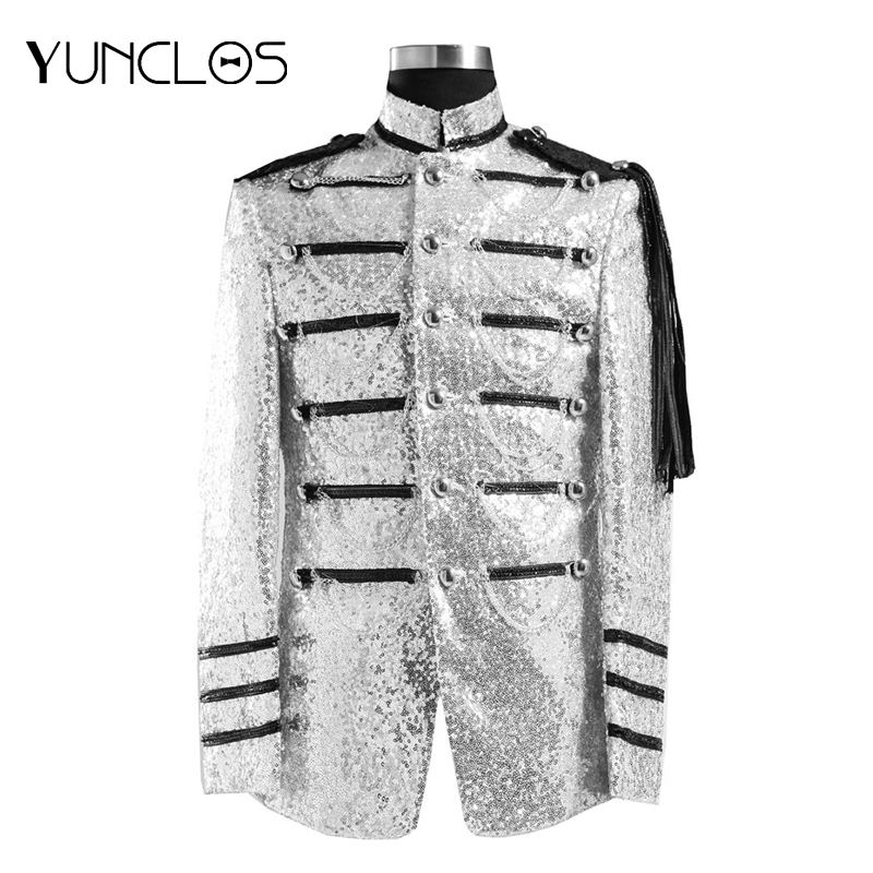 Men's Stand Collar Epaulette Tassel Short Sequined Blazer Single Breasted One Button Jacket  Wedding &Party Male Casual Suit