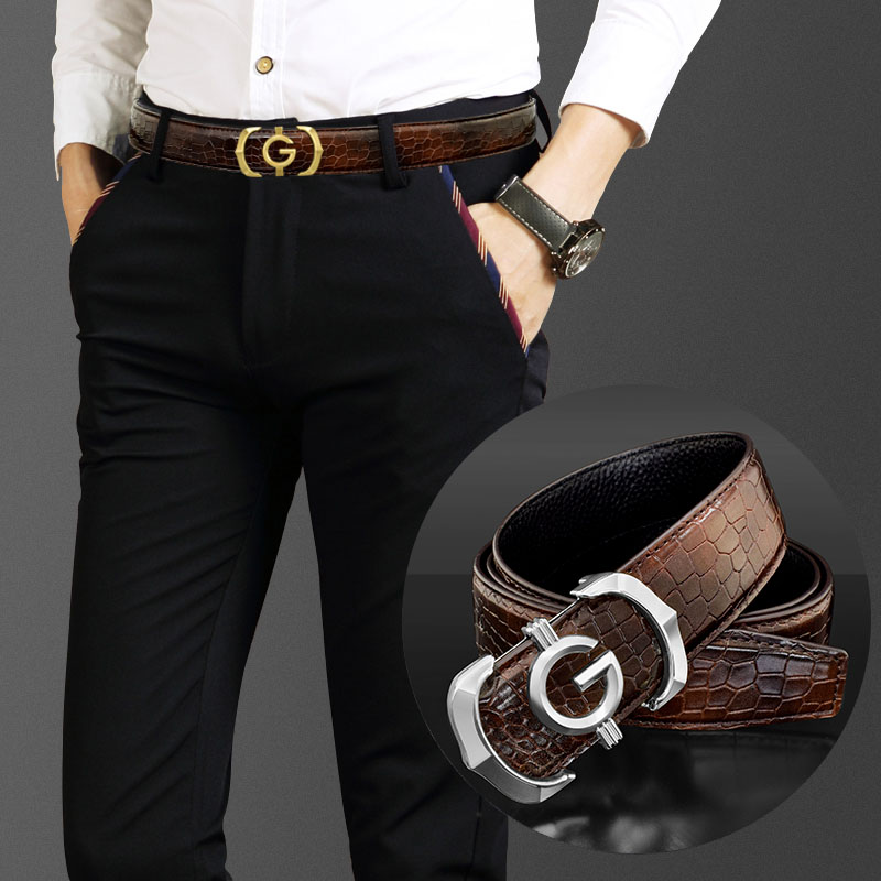 Designer belt men's high quality genuine leather fashion G belt men's luxury brand cowhide casual brown belt men's belt