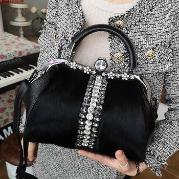 Real Horsehair Fur Bag Temperament Diamond Evening Leather Tote Patchwork Handbags Single Shoulder Satchel Cystal Frame New 2019