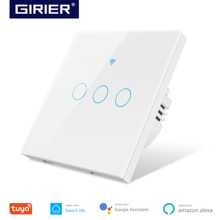 Wifi Smart Light Touch Switch EU, Neutral Wire Required Wall Switch 1 2 3 Gang, Compatible with Alexa Google Home Smart Life App
