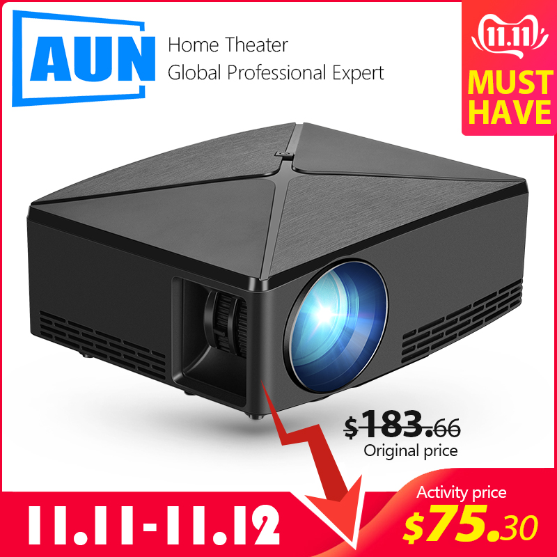 AUN MINI Projector C80UP, 1280x720P Resolution, Android WIFI Proyector, LED Portable 3D Beamer for 4K Home Cinema, Optional C80-in LCD Projectors from Consumer Electronics