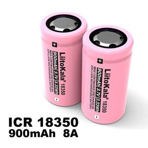Image 4 - 1 20 adet Liitokala ICR 18350 güç şarj edilebilir lityum pil 900mAh 3.7V 8A için uygun elektronik sigara lambalar