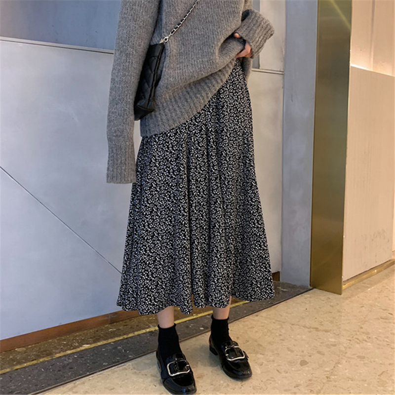 Women Elegant Floral Print Pleated Skirt Elastic High Waist Long Skirt Female Autumn Ladies High Quality Midi Skirt Saia