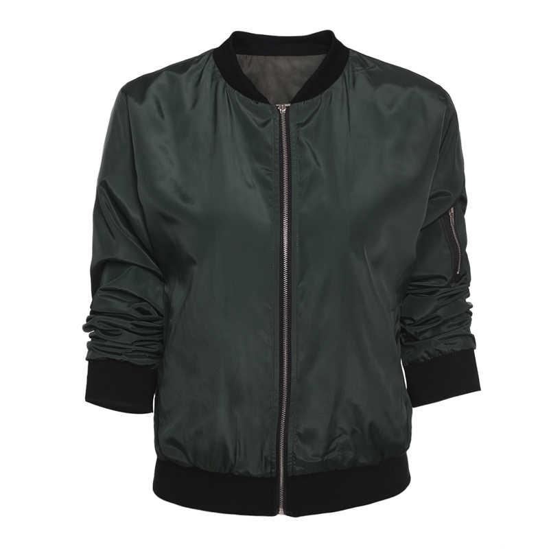 春秋の女性の女性薄型ジャケットファッションの基本的な爆撃機ジャケット長袖コートカジュアルスタンド襟薄型スリムフィット上着
