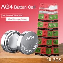 10 pces pilha de moedas baterias alcalinas ag4 1.55v botton bateria 626a 377a cx66w para brinquedo calculadora ponteiro laser relógio câmeras