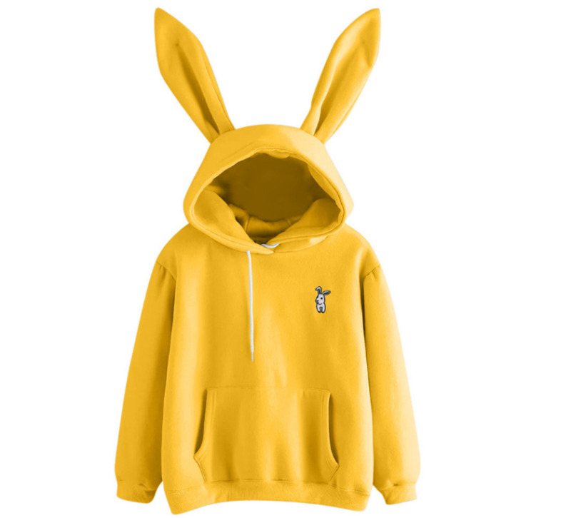 Women Bunny Rabbit Ears Hoodie Hoody Ladies Winter Long Sleeve Pullover Cotton Plain Design Jumper Casual Tops Outwear