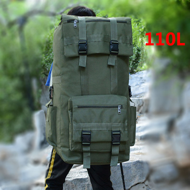 110L ขนาดใหญ่ผู้ชายเดินป่า Rucksack Camping กระเป๋าเป้สะพายหลังกระเป๋าเป้สะพายหลังกองทัพกลางแจ้งปีนเข...