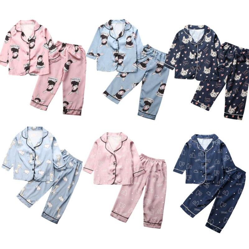 1-7y infantil crianças meninas meninos do bebê pijamas macios conjuntos de pijamas dos desenhos animados imprimir t shirt + calças outfit