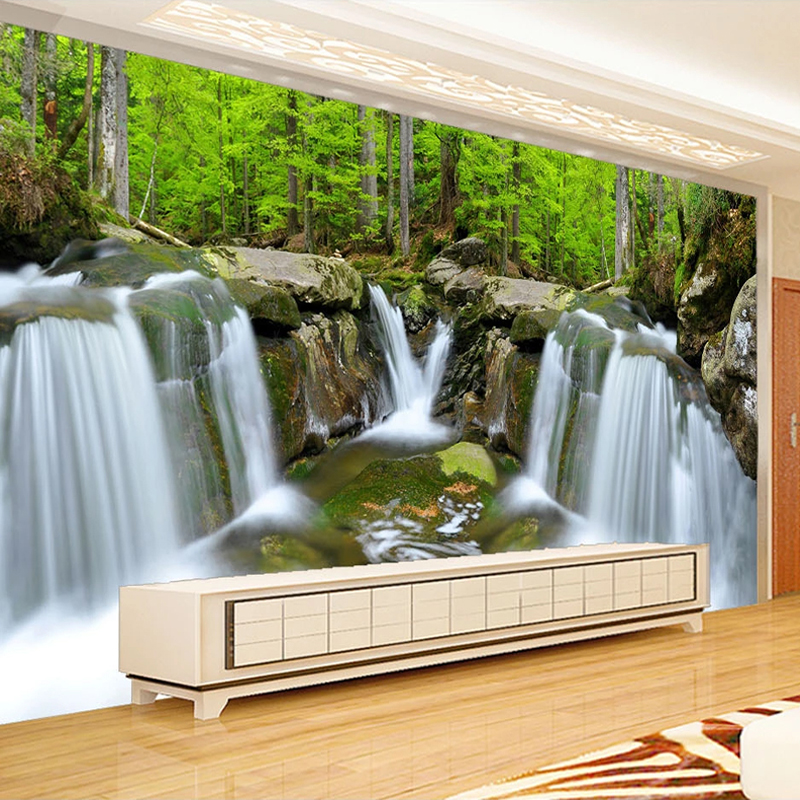 Custom Photo Mural 3D Waterfall Forest Landscape Poster Wall Painting Modern Living Room Sofa TV Background Non-woven Wallpaper