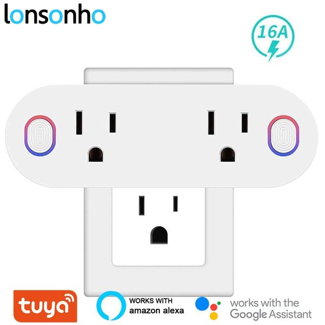 Lonsonho Tuya المكونات الذكية واي فاي المقبس نوع B الولايات المتحدة التوصيل 16A مراقبة الطاقة يعمل مع اليكسا جوجل المنزل مصغر