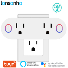Lonsonho Tuya Smart Plug Wifi Socket Type B US Plug 16A Power Monitor Works With Alexa Google Home Mini