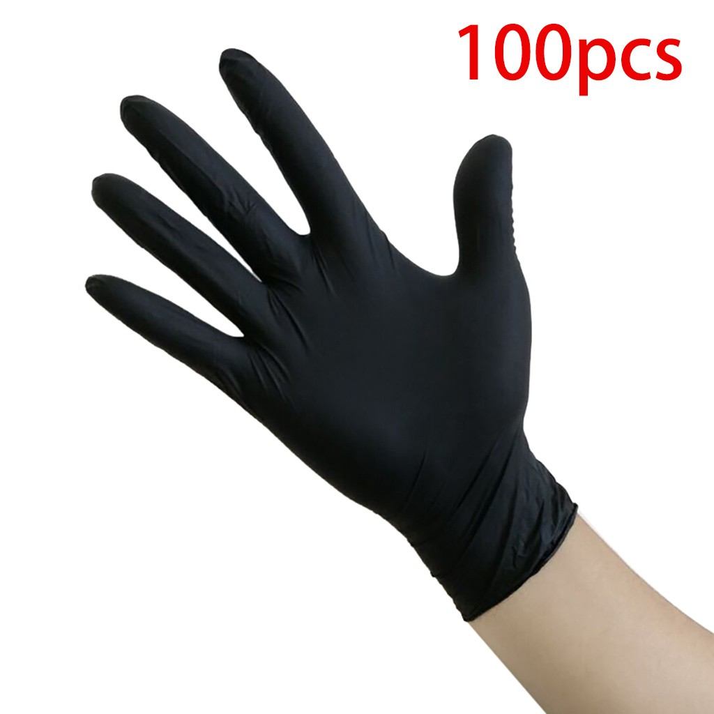 100Pcs Black Gloves Disposable Transparent Gloves Tattoo  Rubber PVC Gloves Tattoo Accessories Multifunction Black Gloves