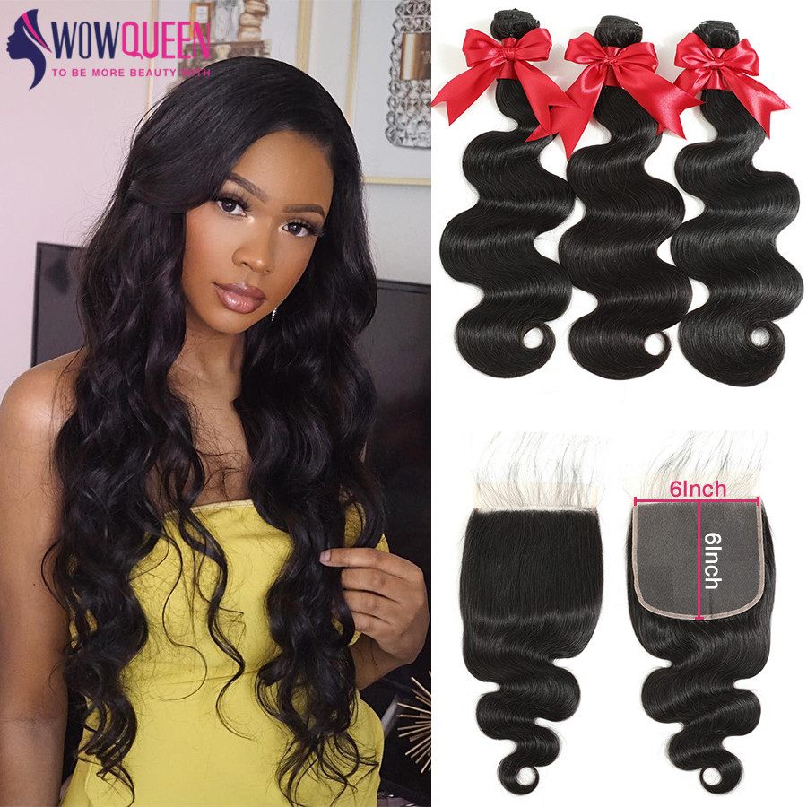 6x6 Closure And Bundles 30 Inch Human Hair Body Wave Bundles With Closure 5x5 Closure With Bundles Brazilian Hair Weave Bundles