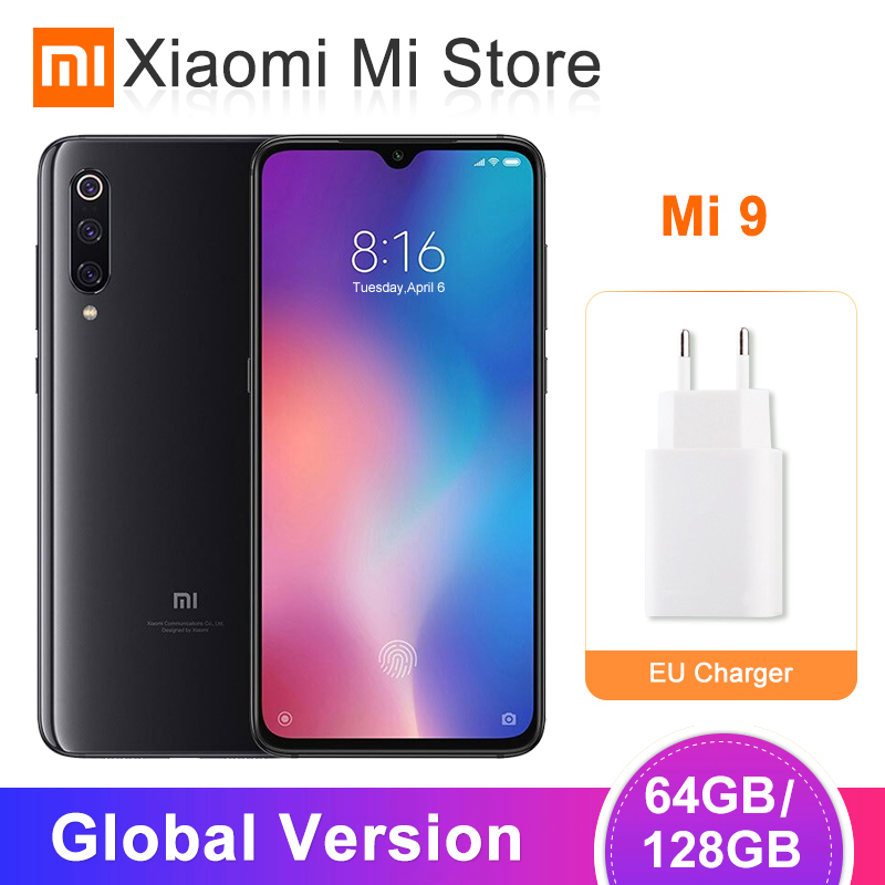 Versão Global Xiao mi mi mi 9 9 6 GB/64 GB 6 GB/128 GB Do Telefone Móvel snapdragon 855 Octa Core 6.39