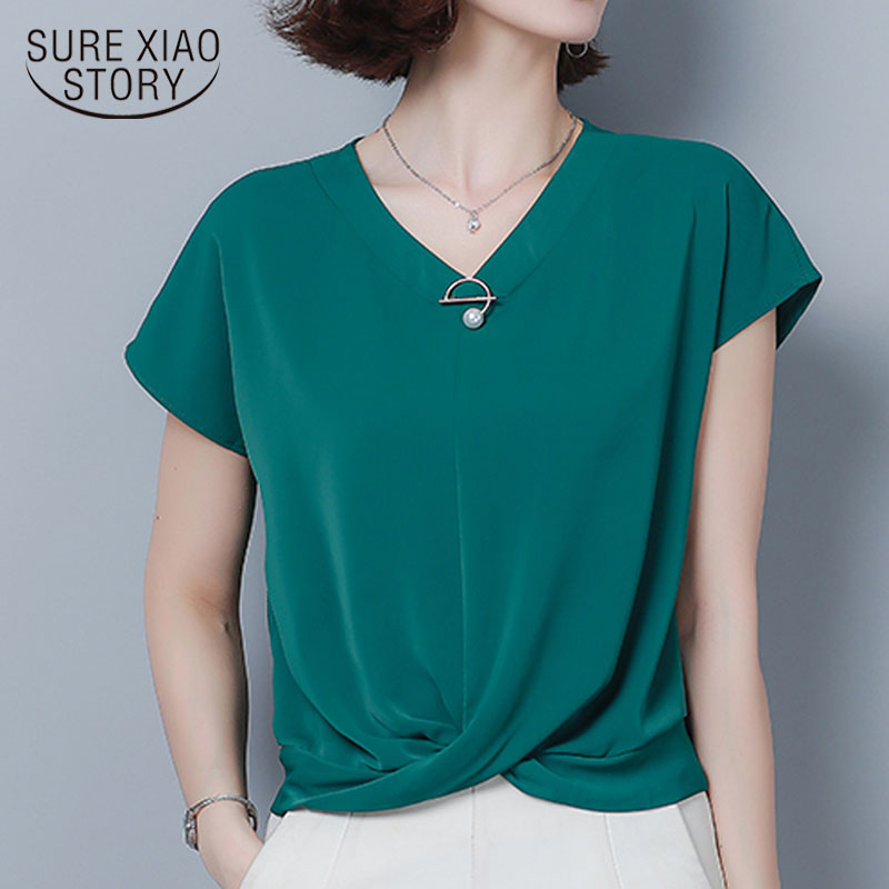 2020 Summer Plus Size 3XL Irregular Chiffon Shirts Women Loose Bat Short Sleeve V-neck Office Lady Solid Elegant Blusas 9051 50