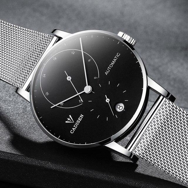ساعات رجالي CADISEN 2018 من أفضل العلامات التجارية الفاخرة التلقائي ساعة ميكانيكية الرجال الصلب الكامل الأعمال مقاوم للماء موضة الساعات الرياضية