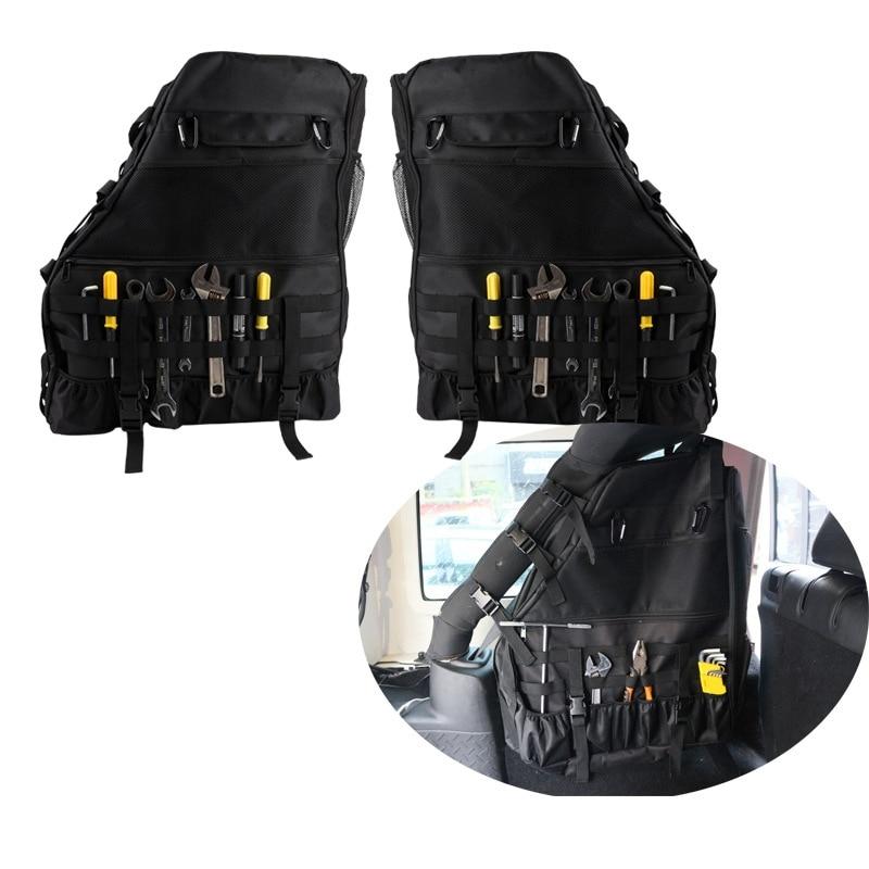 Para jeep wrangler jk jl organizadores saco de armazenamento de carga rolo barra alforje porta lateral anti-rolo saco de armazenamento 2 pçs