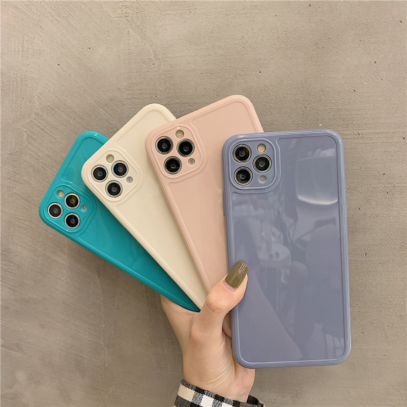 Luxury Vintage Fashion Square Solid Candy Color Ultra-thin Liquid Silicone Phone Case for iPhone 12 Pro Max