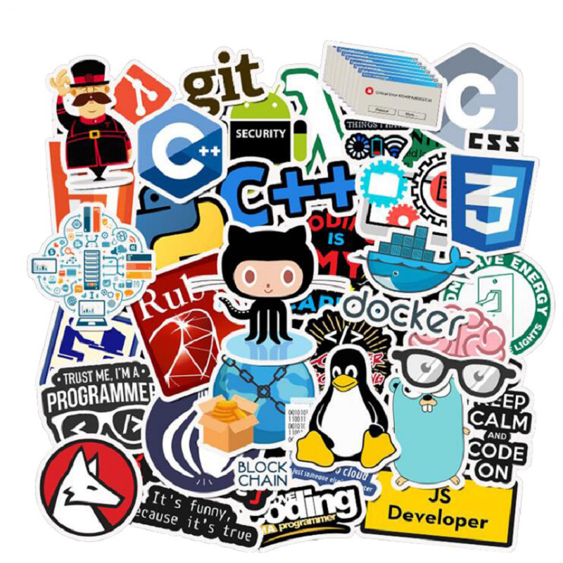 50 PCS Programming Language Stickers Internet Html Software Waterproof Sticker For Geek Developer To DIY Laptop Phone Sticker