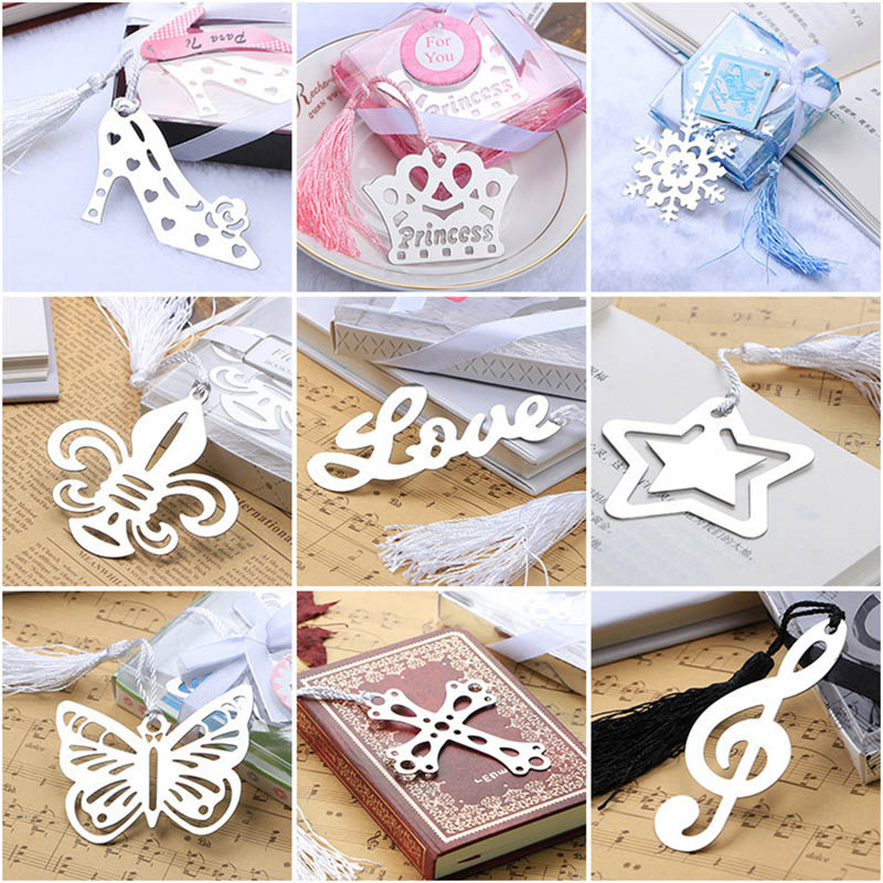 30pcs/lot , Stainless Steel Metal Bookmarks , Crown / Cross / Snowflake / Love / High Heel Gift Book Markers
