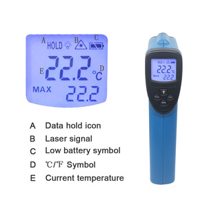 Image 2 - LCD IR Infrared Thermometer Non Contact Double/Single Laser Pyrometer Digital C/F Selection Surface Temperature Monitor