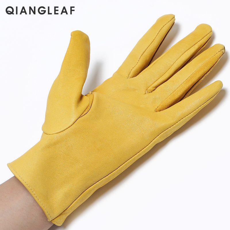 Image 3 - QIANGLEAF Brand New Yellow Work Drivers Gloves Gardening Household Work Cowhide Leather Safety Working Glove Men&Women 130NP-in Safety Gloves from Security & Protection