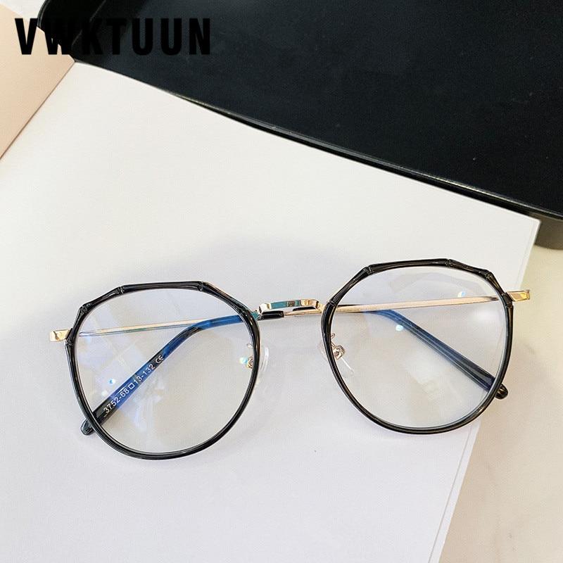 VWKTUUN Fashion Round Glasses Frame Creative Oversized Eyeglasses Frames Soild Clear Lens Computer Myopia Fake Glasses
