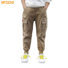 VFOCHI 2020 Brand New 5-16T Boys Pants Spring Summer Solid Color Kids Trousers Teenage Clothing Elastic Waist Boy Cargo Pants
