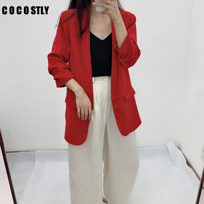 2019 Long Blazer Women Solid Shawl Collar Pockets Office Blazers Female Outwear Tops Roll Sleeve Women's Jacket And Blazer Coat