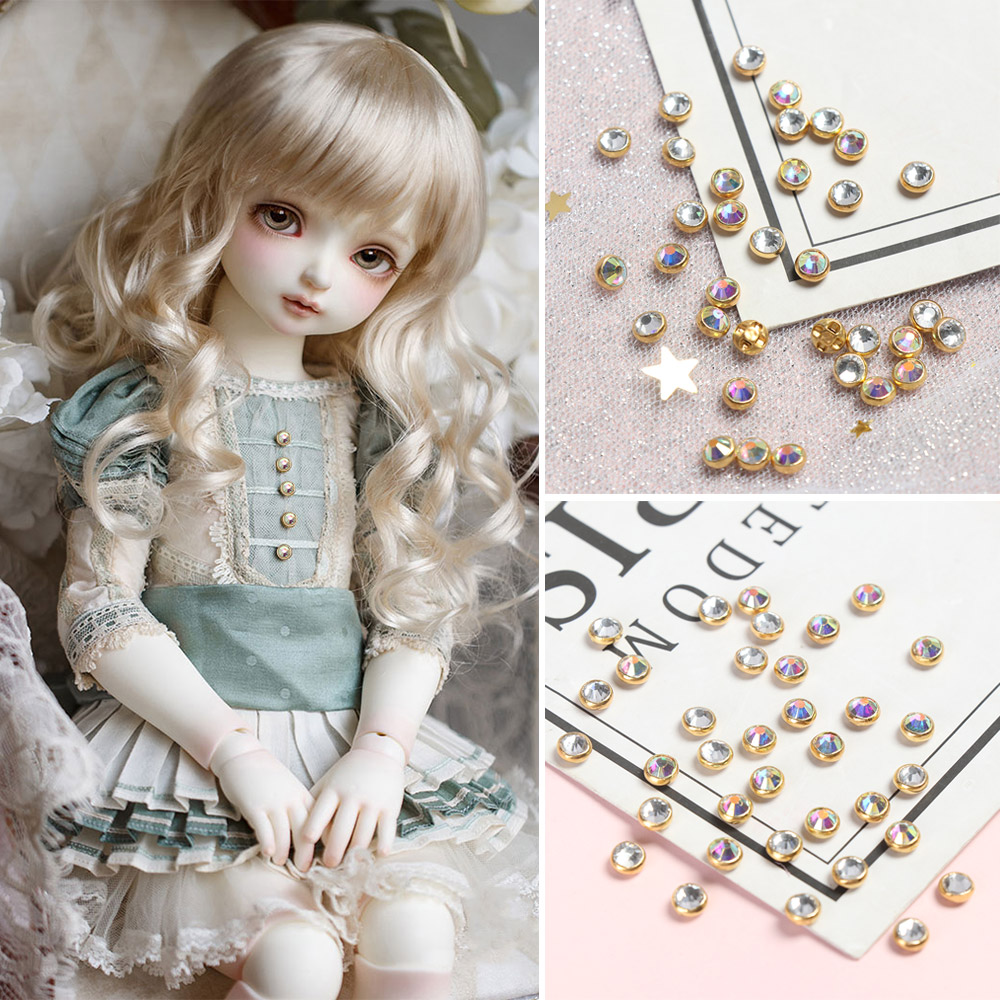 2 Colors 4mm Mini Buttons Ultra-small Diamond Buckle <font><b>1/6</b></font> Doll <font><b>Belt</b></font> Buckle DIY Bags Shoes Necklace Buckles Doll Sewing Accessory image