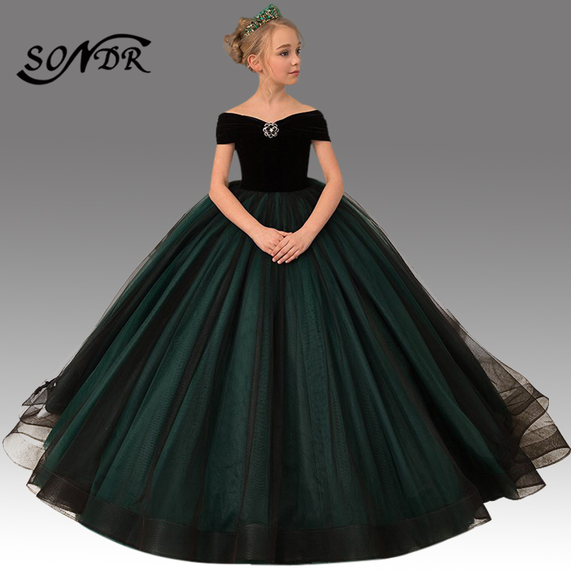 Train Flower Girl Dress HT086 Patchwork Long Primera Comunion Decoracion Off The Shoulder Bow Princess Ball Gowns For Girls