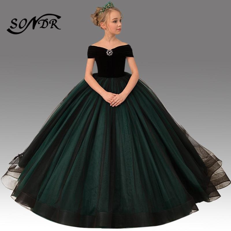 Train Flower Girl Dress HT086 Patchwork Long Primera Comunion Decoracion Off The Shoulder Bow Princess Ball Gowns For Girls