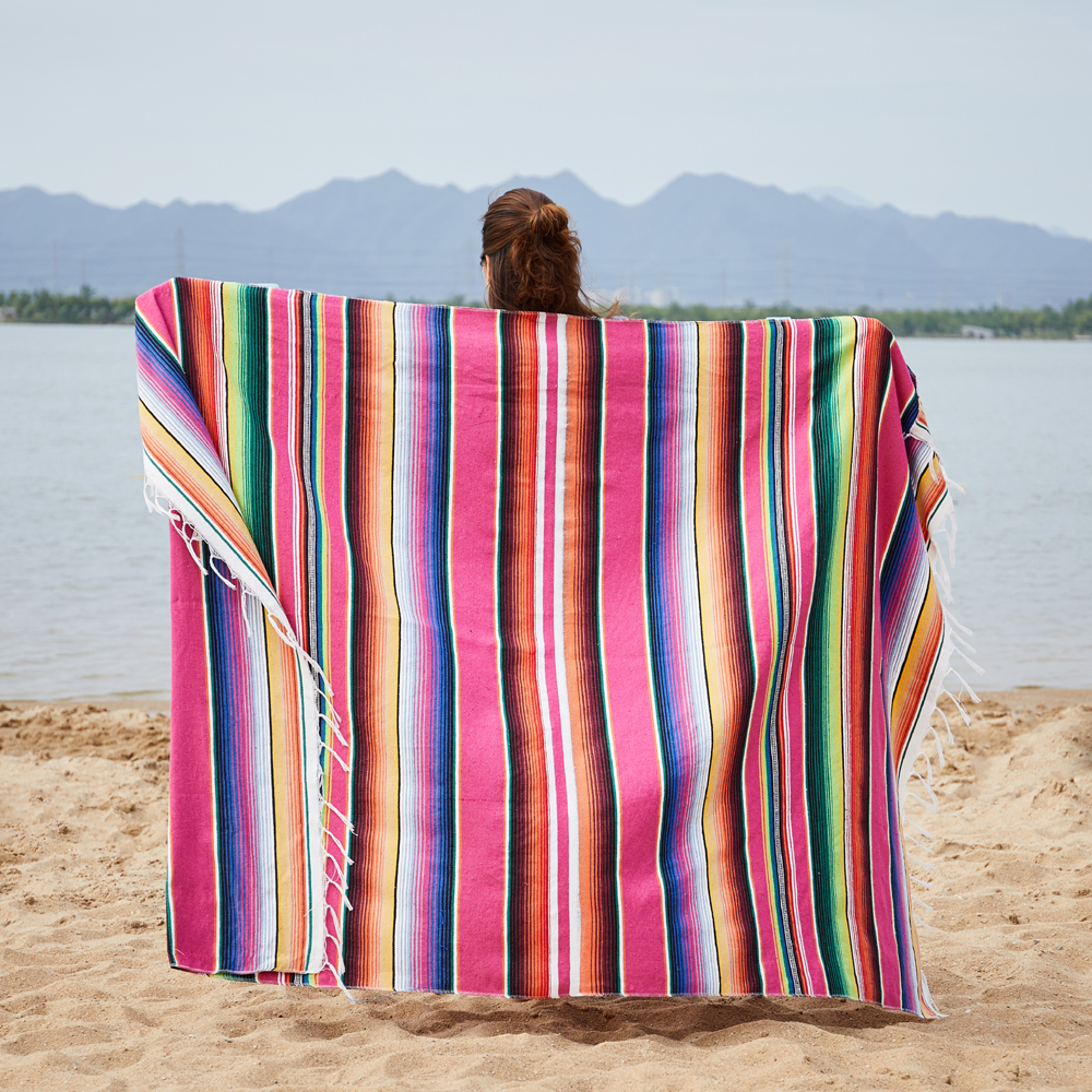 Mexican Indian Handmade Blanket Warm Beds Hand Woven Mat Fleece Blanket Car Office Sleep Blanket Sofa Covers Rainbow Blanket image