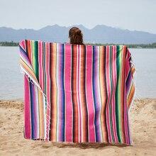 Mexican Indian Handmade Blanket Warm Beds Hand Woven Mat Fleece Car Office Sleep Sofa Covers Rainbow