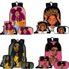 3 sztuk zestaw dzieci śliczne torby szkolne dla dzieci czarna dziewczyna magia Afro Lady drukowanie plecak nastolatki tornister na ramię piórnik tanie tanio COOLOST NYLON CN (pochodzenie) Other Unisex Miękka osłona 20-35 litrów Kieszonka na telefo Wewnętrzna kieszeń na zamek błyskawiczny