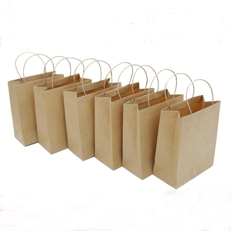 Free Shipping Wholesale 100pcs/lot 10*5*12cm Jewelry Paper Bag Mini Kraft Paper Gift Handle Bag Wedding Candy Food Packaging Bag