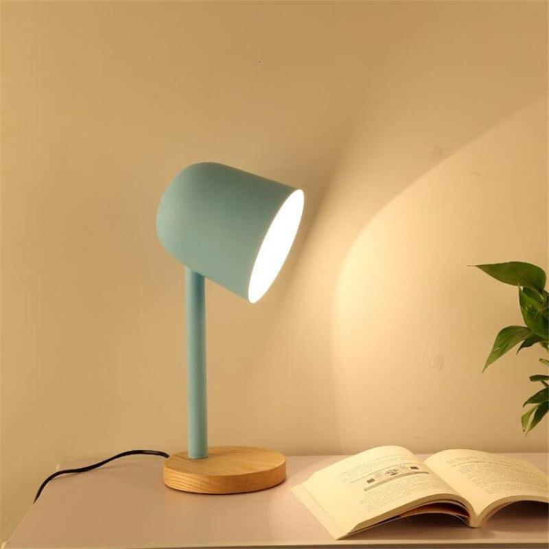 Mini Eenvoudige Ijzer Hout Tafellamp Oog Beschermen Bureaulamp Lampara De Mesa - 6