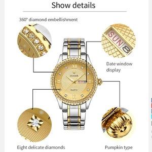 Image 5 - WWOOR 새로운 골드 여성 팔찌 시계 방수 숙녀 시계 스테인레스 스틸 캐주얼 드레스 여성 쿼츠 시계 여성 Reloj Mujer