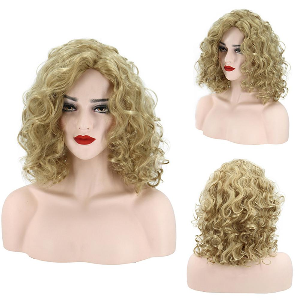Fashion Women Heat Resistant Synthetic Hair Rose Net Golden Africa Curly Wig Charming Lady Hair Accessories Match With Evening