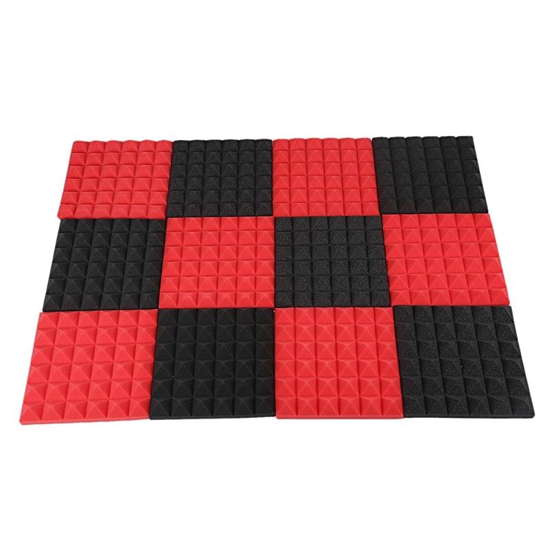 Charcoal Acoustic Foam Tiles Soundproofing Foam Panels Studio Sound Padding 2 X 10 X 10 Inch(Black+Red)