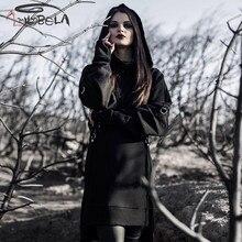 Imily Bela Gothic Long Hoodies Women Autumn Sexy High Split Black Sweatshirt Casual Loose Sleeve Belt Hooded Bluza Damska
