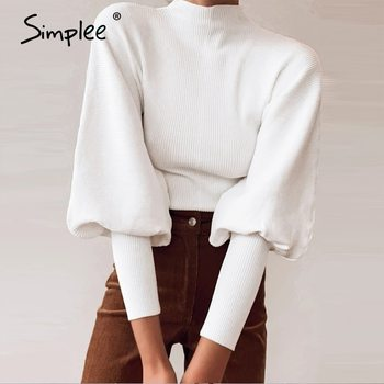 Simplee Autumn winter knitted sweater High collar Lantern Sleeve loose women's street fashion pullover 2020 jumper - discount item  51% OFF Sweaters