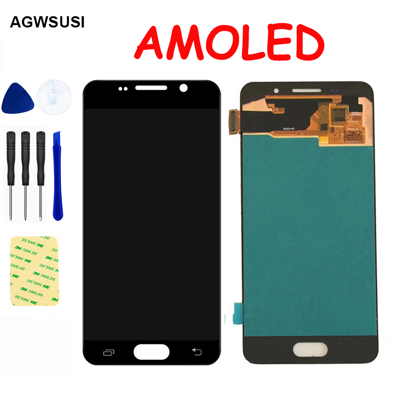 <font><b>AMOLED</b></font> LCD For SAMSUNG Galaxy A3 2016 A310 <font><b>A310F</b></font> A3100 LCD <font><b>Display</b></font> Screen Module Monitor Touch Screen Digitizer Sensor Assembly image