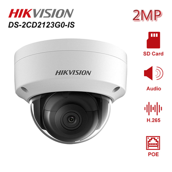 цена на Hikvision DS-2CD2123G0-IS 2MP IR Fixed Dome POE IP Camera Security With Audio SD Card Slot Network Cam IP67 Night vision H.265