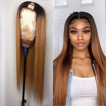 U-Part Human Hair 1B/27 Wigs Brazilian Straight Human Hair Wigs Ombre Color Glueless U Part Blonde Hair Wigs For Women