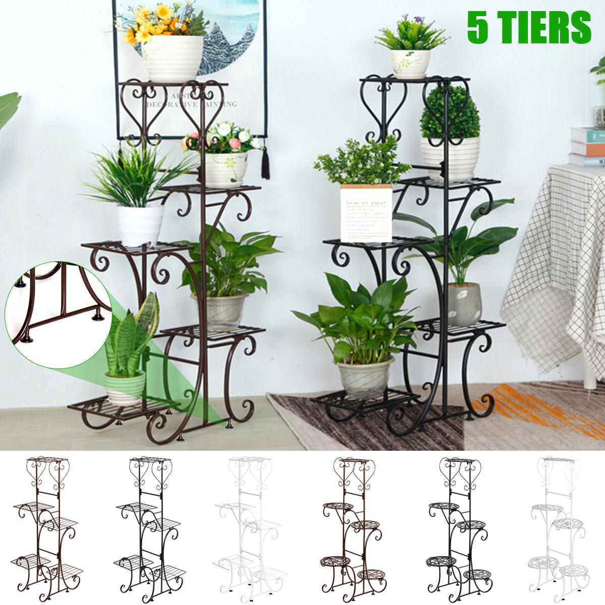 5 Tier Iron Plant Stand Rack Flower Pot Holder Garden Shelf Home Office Indoor Outdoor Plant Succulent Shelf Patio Garden Decor