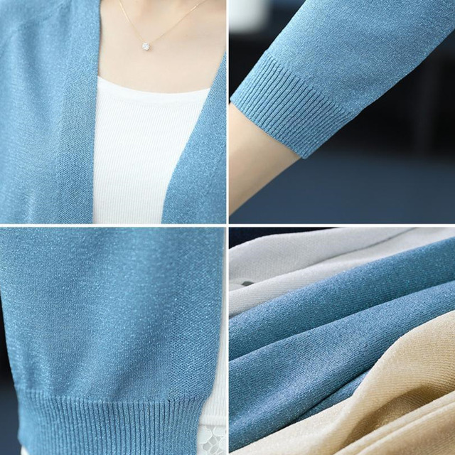 PEONFLY Fashion 2020 Spring Sweater Women Shinny Solid Color Knitted Cardigans Casual Long Sleeve Coat V Neck Women Jumper Blue 6