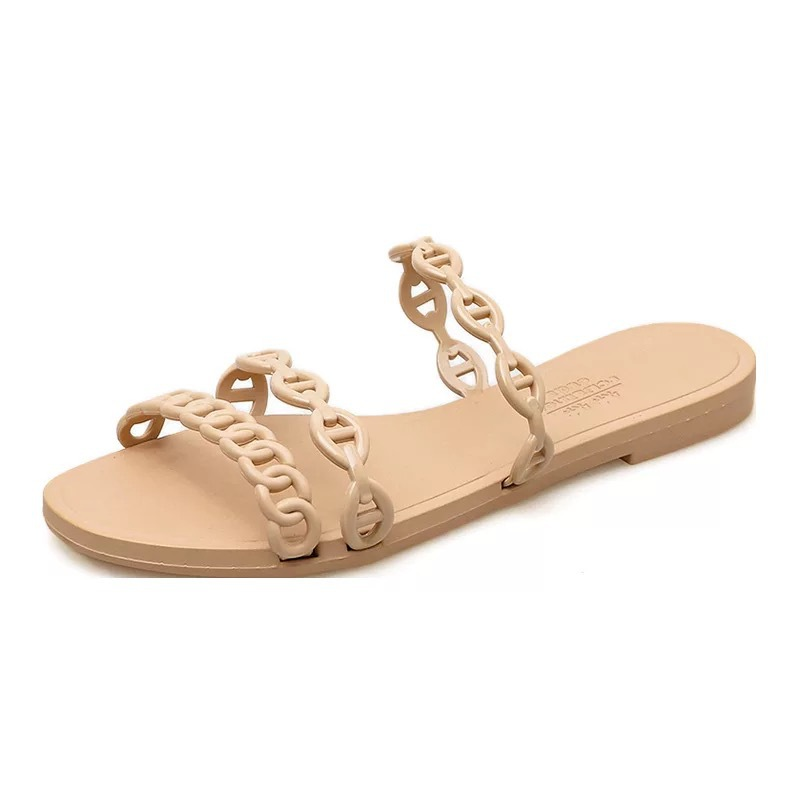 Summer Beach Woman Flip Flops Valentine Slippers PVC Slides Female Sandals Slip on Flat with Women Studs Slippers Jelly Shoes 2
